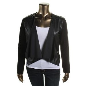 Calvin Klein Faux Leather Open Front Cardigan